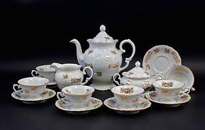 99840181 Porzellan Kaffee-Service Polen Goldrose um 1950/60