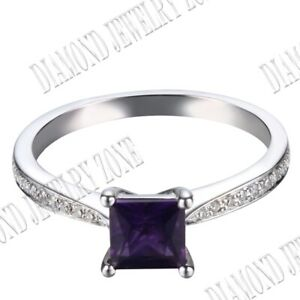 Fine Jewelry Sterling Silver 5mm Cushion Amethyst Pave Real SI/H Diamonds Ring