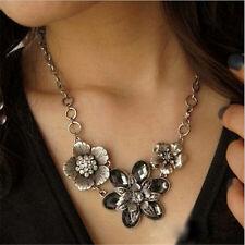 Hot Vintage Rhinestone Crystal Silver Flower Pendant Bib Choker Chain Necklace
