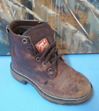 TONY LAMA TW953 C YOUTH  LEATHER WORK BOOTS SIZE 10 LACE UP, BROWN