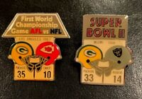 Green Bay Packers Set of 1st 2 NFL Super Bowl Starline Collector Pins Very Rare