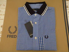 FRED PERRY Short Sleeve Mix Shirt Men's TIPPED GINGHAM Olympian Size S Top BNWT