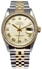 Rolex Datejust 18k Yellow Gold/Steel Silver Pyramid Dial Mens 36mm Watch 16233