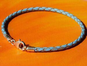 Mens / Ladies 3mm Sky Blue leather & sterling silver bracelet by Lyme Bay Art