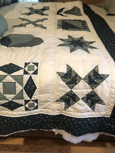 """BEAUTIFUL HAND MADE SAMPLER QUILT 91"""" By 106"""" King Size"""