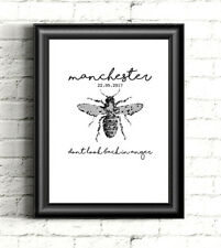 Manchester Bee (Don't look back in anger) Print - A5 Black & White
