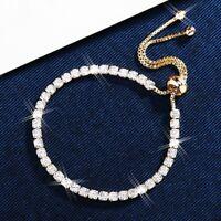 18K White, Rose & Yellow Gold Filled Lab Diamond Round Adjustable Chain Bracelet