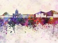 Painting Illustration Cityscape Naples Skyline Paint Splash Canvas Art Print