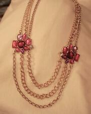Lovely Triple-Chained Goldtone Red Violet Burgundy Flowers Pendant Necklace