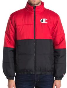 Champion Jacket Mens XL New Stadium Puffer Full Zip Black Red Water Repellent