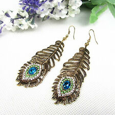 Vintage Women Rhinestone Peacock Eye Feather Dangle Hook Earrings Gift Dainty