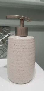 Grey Classy  Stone Affect Brushed Silver Chrome Soap Cream Bathroom Dispenser
