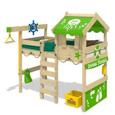 WICKEY Kinderbett Hochbett Crazy Jelly - apfelgrüne Plane Hausbett 90 x 200 cm