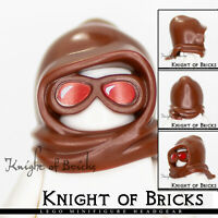 LEGO Minifigure BROWN Headgear Hood with Goggles over Face Red Lenses
