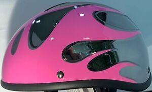 VOSS BLACK CHROME & PINK FLAME BEANIE NOVELTY MOTORCYCLE HELMET LIGHT WEIGHT