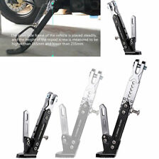 1x Black + Silver Metal Motorcycle Side Stand Adjustable Tripod Holder Anti-Fall