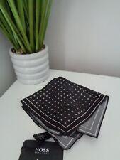 Bnwt Hugo Boss schwarz Muster 100% silk pocket square Taschentuch Hankie