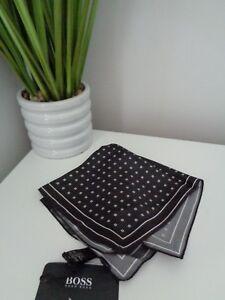 BNWT HUGO BOSS Black Pattern 100% Silk Pocket Square Handkerchief Hankie