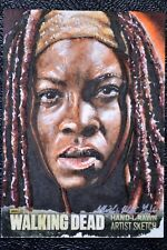 Walking Dead Season 3 Michonne Sketch Art by Mick & Matt Glebe Trading Card