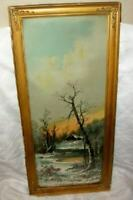 ANTIQUE 1895 WILLIAM HENRY CHANDLER PRINT WINTER CABIN CHIPPY AGED BRASS CORNERS