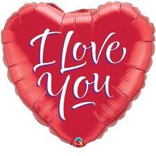 "Valentines I Love You Script Mini 9"" Heart Shaped Qualatex Foil Balloon on Stick"