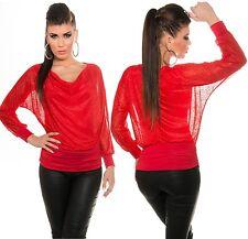 Sexy Fledermaus Shirt 2in1 Top Bluse KouCla Chiffon Tunika Wasserfallausschnitt