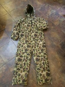 Vintage Cabela's Sidney down filled insulated coveralls Camo hunting overalls XL
