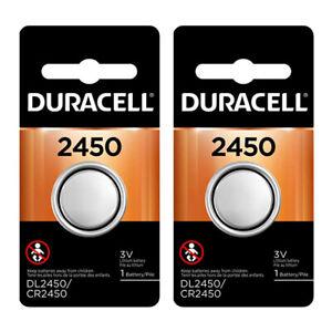2 Pcs Duracell 2450 DL2450 CR2450 3V Lithium Button Battery
