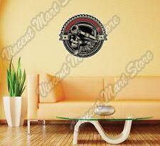 "Vintage Biker Skull Chopper Bike Gift Wall Sticker Room Interior Decor 22""X22"""