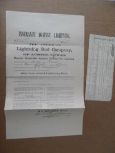 1885 American Lightning Rod Co Austin Texas Contract Insurance Ephemera Antique