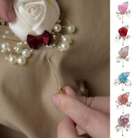Wedding Bridal Groom Boutonniere Artificial Flower Brooch Pin Rose Accessories