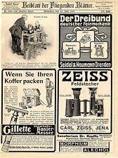 Gillette Rasier-Messer Zeiss Feldstecher Hüttig Dresden Camera Sinalco De...1907