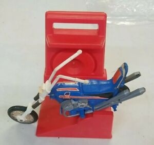 Vintage 1973 Ideal Evel Knievel Blue Motorcycle Bike & Stunt Cycle Chopper