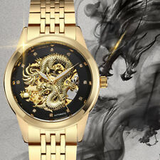 Luxury Luminous Gold Dragon Skeleton Steel Automatic Mechanical Watches Men Gift