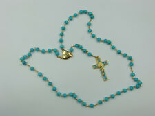 1st Communion Gift, Turquoise Blue Glass Bead Rosary w/Locket center -