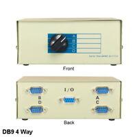 Kentek 4-Way DB9 Male Manual Data Transfer Switch Box RS232 9 Pin Serial Printer