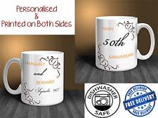 50th Wedding Anniversary (Golden) Personalised Mug Gift Set (PAIR). (OC025)