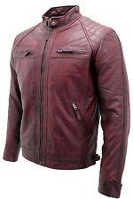 homme vintage noir, foncé, Bordeaux, noir & Brun cuir matelassée veste motard