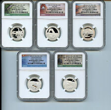 2014 S ATB NP Quarter NGC PF69 UCAM  ER Silver  25c Proof Certified 5 Coin Set