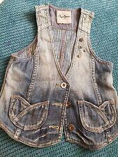pepe jeans london girl 9-10 10 years denim vest waistcoat