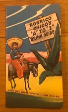 Vintage 1940s Ronrico Rum A to Z Cocktail Drink Guide Puerto Rico