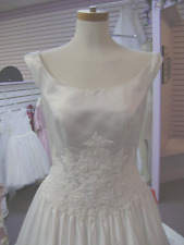 NWT WHITE  SIZE 12 PRINCESS WEDDING DRESS WITH LACE AND PEARLS ORIG. $1,500