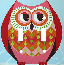 COOL RETRO OWL DOUBLE WALL LIGHT SWITCH PLATE COVER