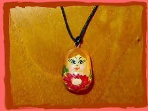 Pendant Russian Nesting Doll Matryoshka HAND PAINTED PEACH Stocking Filler