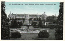 Postcard Grand Lodge from Formal Gardens Masonic Homes Elizabethtown Pa