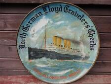 OLD North German Lloyd Travelers Checks Kaiser Wilhelm II SHIP Round Sign Metal