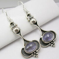 """925 Solid Silver NATURAL IOLITE Dangle Earrings 1.7"""" Battle of the Boyne Gift"""