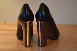 """Tory Burch Cantrelle Peep Toe Black Golden Brown Leather T Pumps 4.5"""" Heels 11 M"""