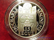 1990 France Large Silver Proof  100 Fr/15 Ecu Charlemagne