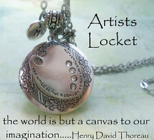 Artist Locket with Swarovski Crystals, Palette and Letter Charms, Thoreau Quote